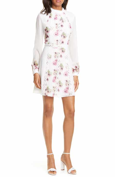 afcf610e6 Ted Baker London Floral Lace Trim Long Sleeve Minidress