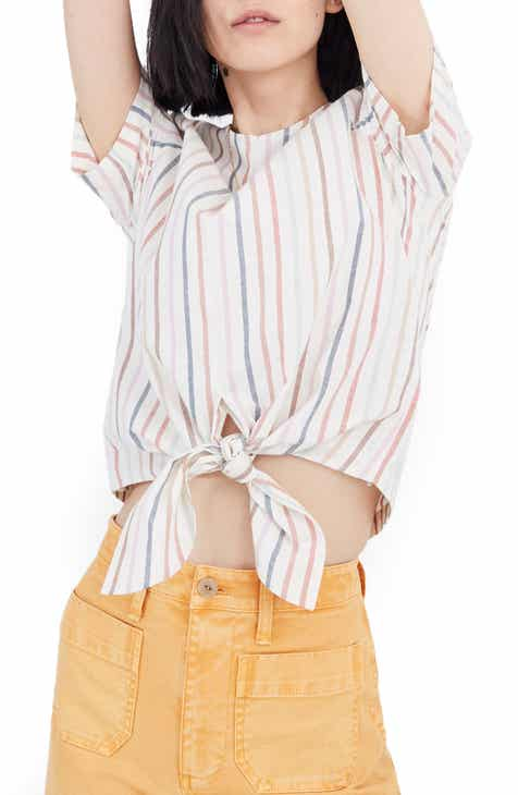 Madewell Rainbow Stripe Button Back Top