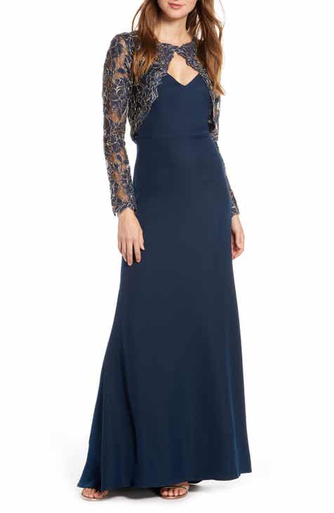 fc0d6298b02 Tadashi Shoji Crepe   Embroidered Lace Gown