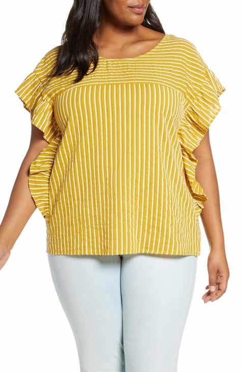 d5ccfcf5804fc ELOQUII Stripe Bow Cotton Top (Plus Size)