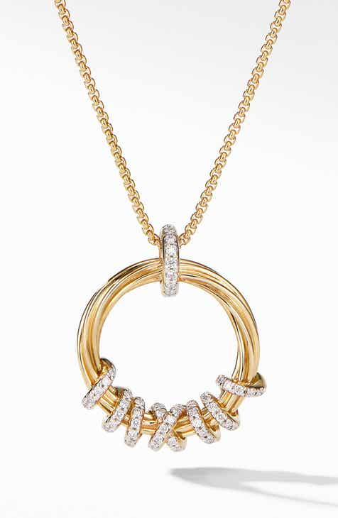fbf20c480 David Yurman Helena Round Pendant Necklace in 18K Yellow Gold with Diamonds