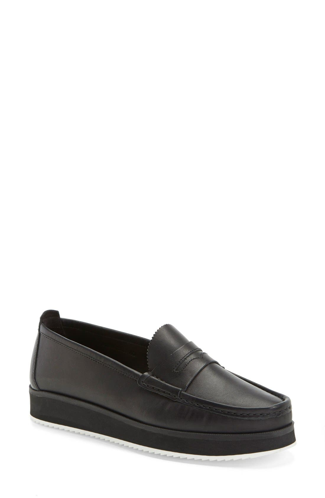 'Tanya' Penny Loafer,                             Main thumbnail 1, color,                             Black Leather