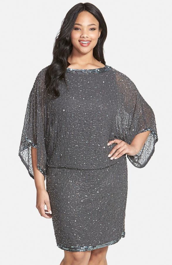 J Kara Embellished Blouson Dress Plus Size Nordstrom