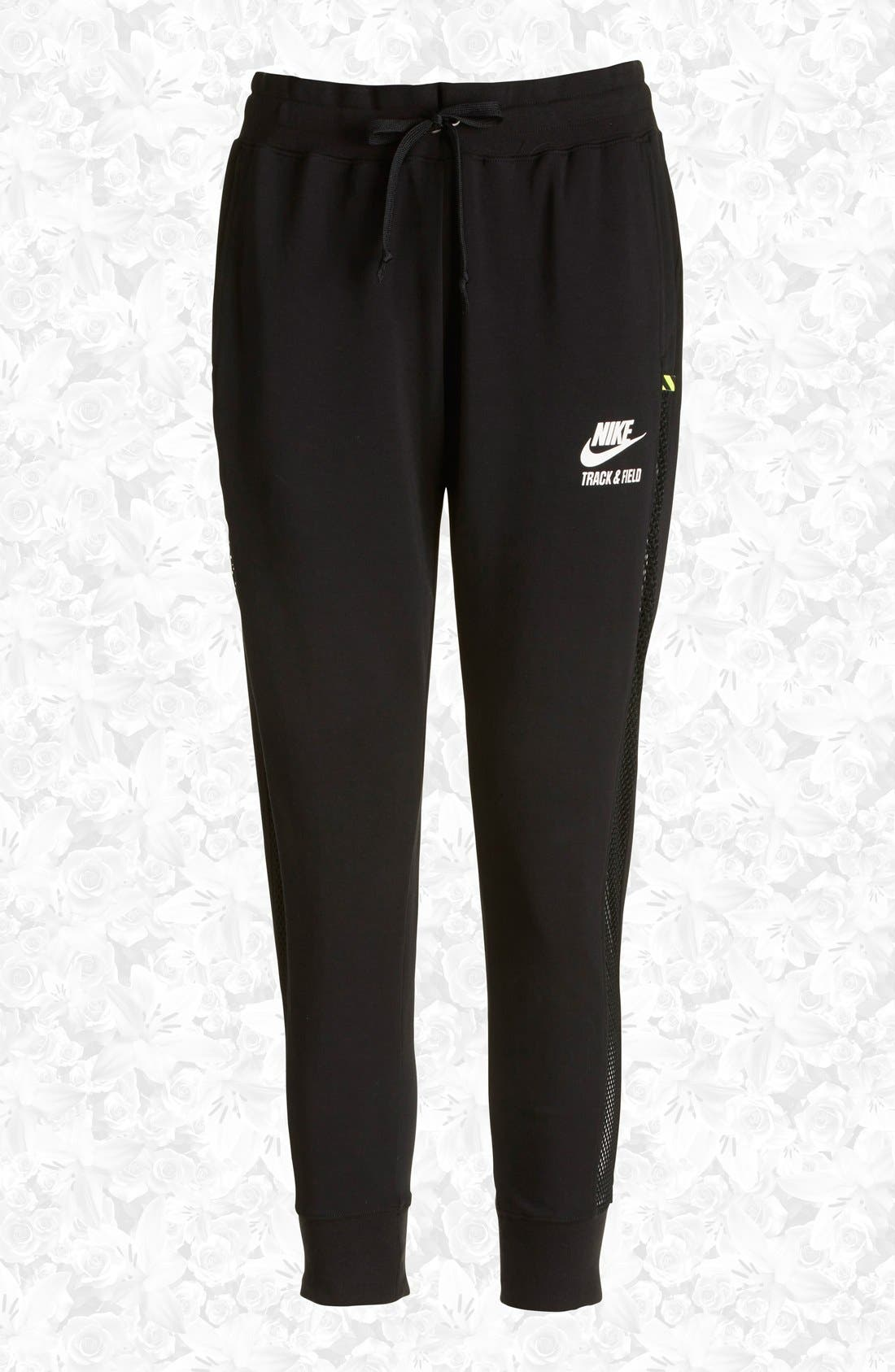 Alternate Image 1 Selected - Nike 'RU Mesh Mix' Cuffed Sweatpants (Women)