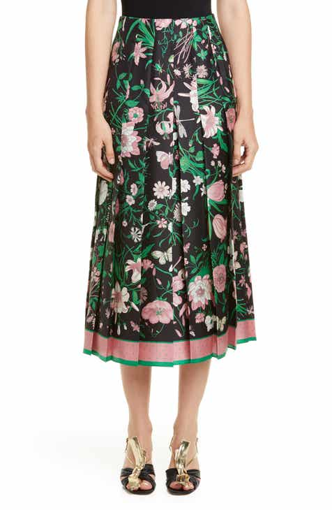 5e8b5e220 Gucci Pleated Flora Print Silk Twill Skirt