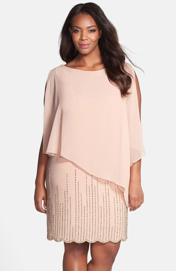 Xscape Chiffon Overlay Beaded Jersey Dress (Plus Size) | Nordstrom