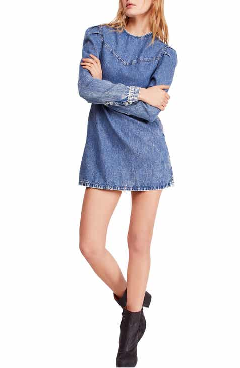 Free People Self Control Denim Minidress