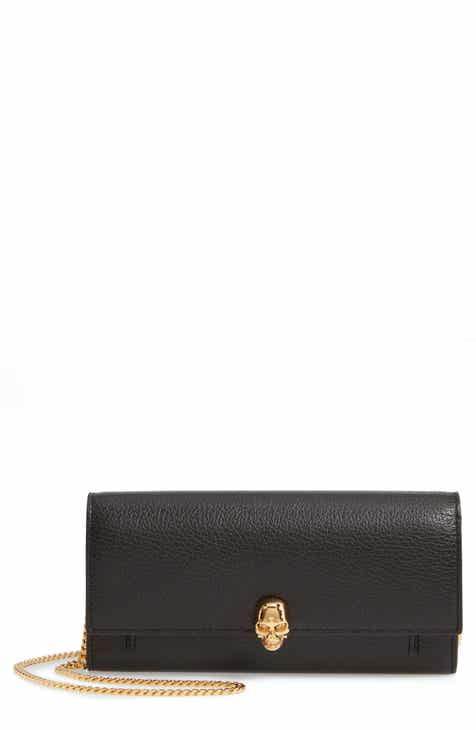 26ae687d1e0fb Alexander McQueen Skull Leather Wallet on a Chain