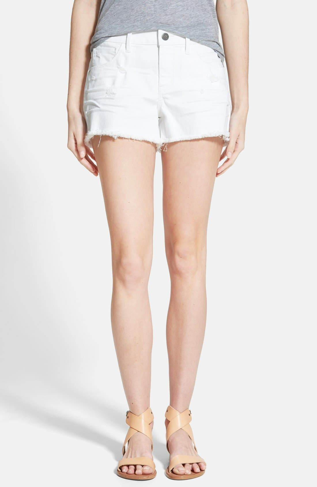 Main Image - Treasure&Bond Cutoff Shorts (White Worn)