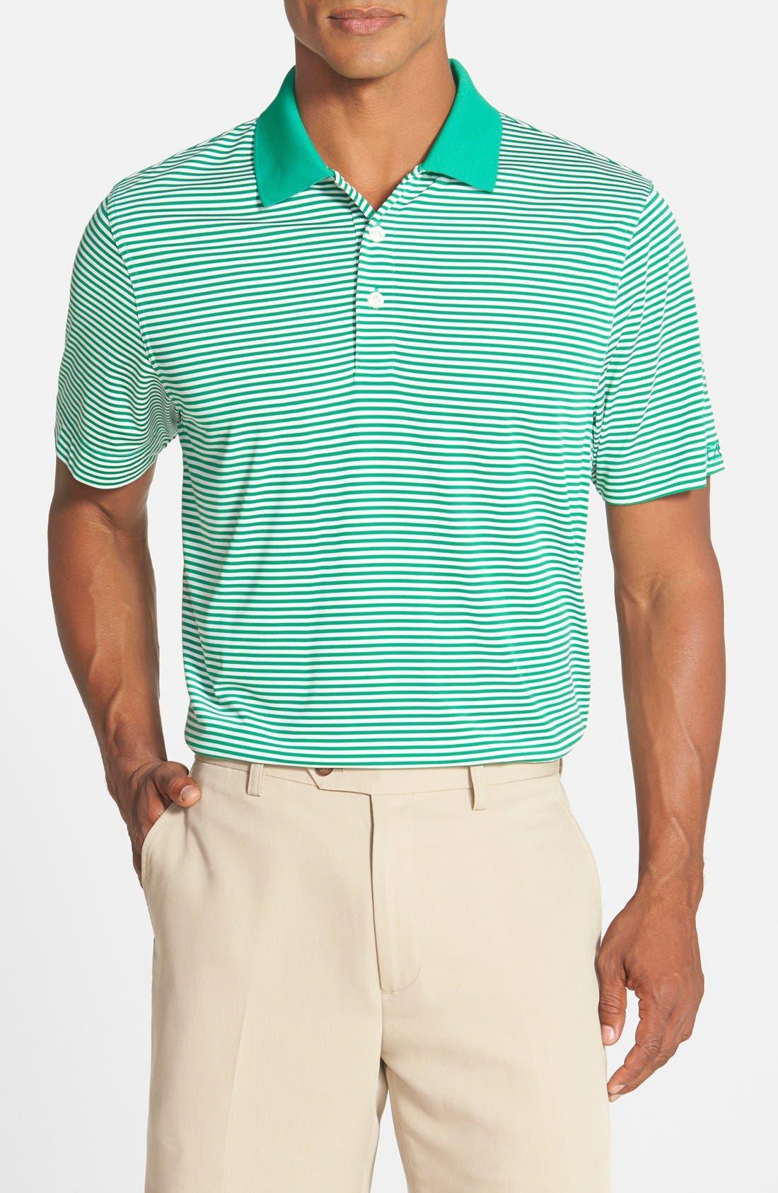 Trevor DryTec Moisture Wicking Golf Polo,                             Main thumbnail 1, color,                             Loft Green/ White