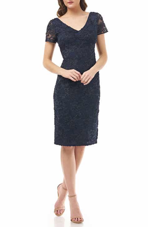 Discount JS Collections Soutache Embroidered V-Neck Cocktail Dress