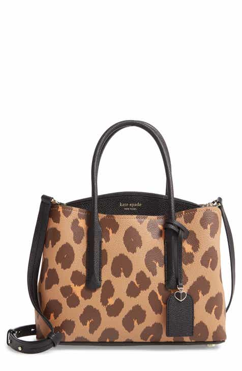kate spade new york medium margaux leopard print leather satchel