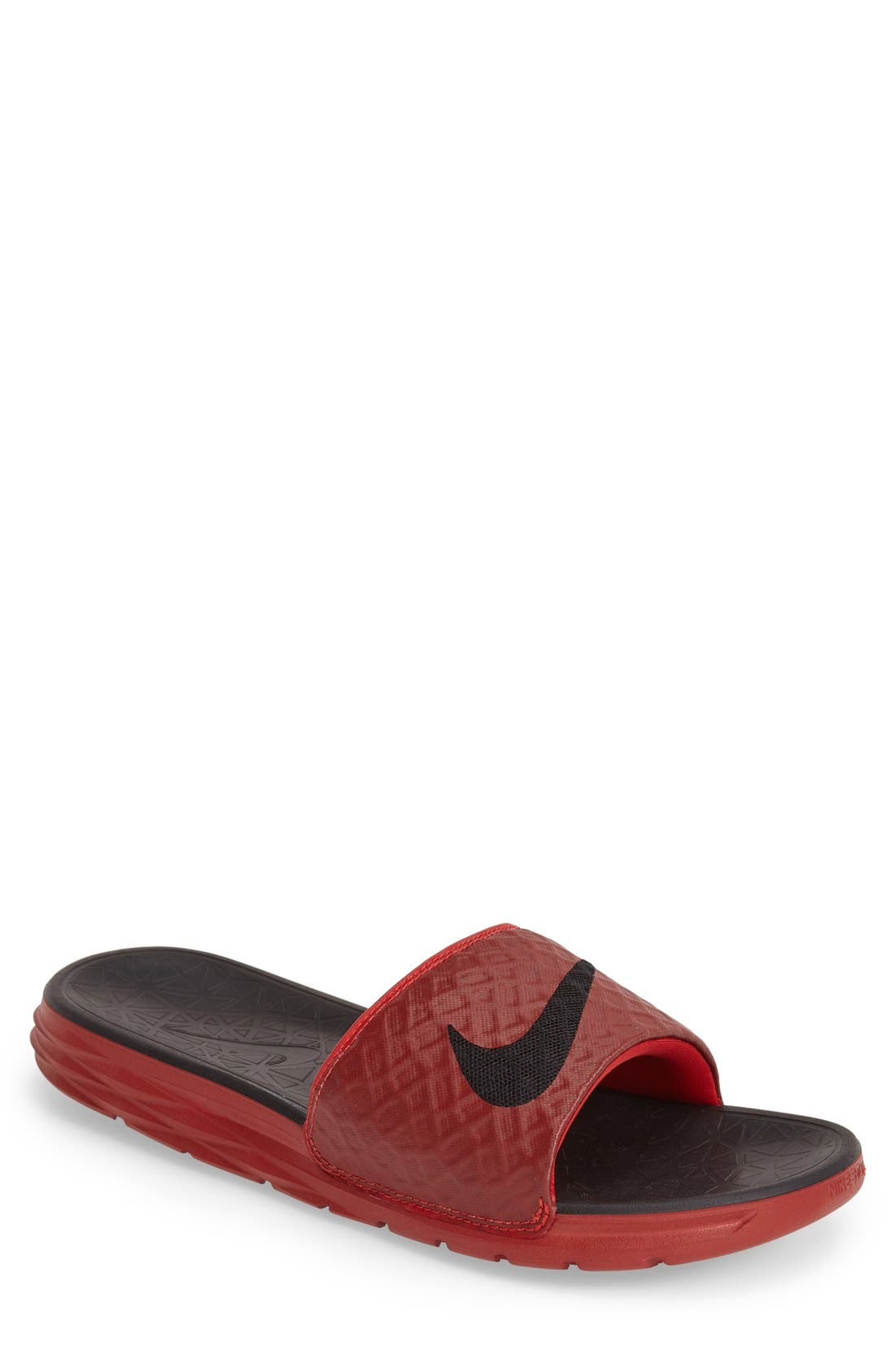 'Benassi Solarsoft 2' Slide Sandal,                             Main thumbnail 1, color,                             University Red/ Black