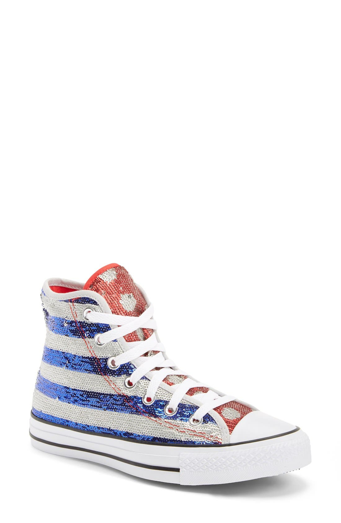 Alternate Image 1 Selected - Converse Chuck Taylor® All Star® Sequin Flag High Top Sneaker (Women)