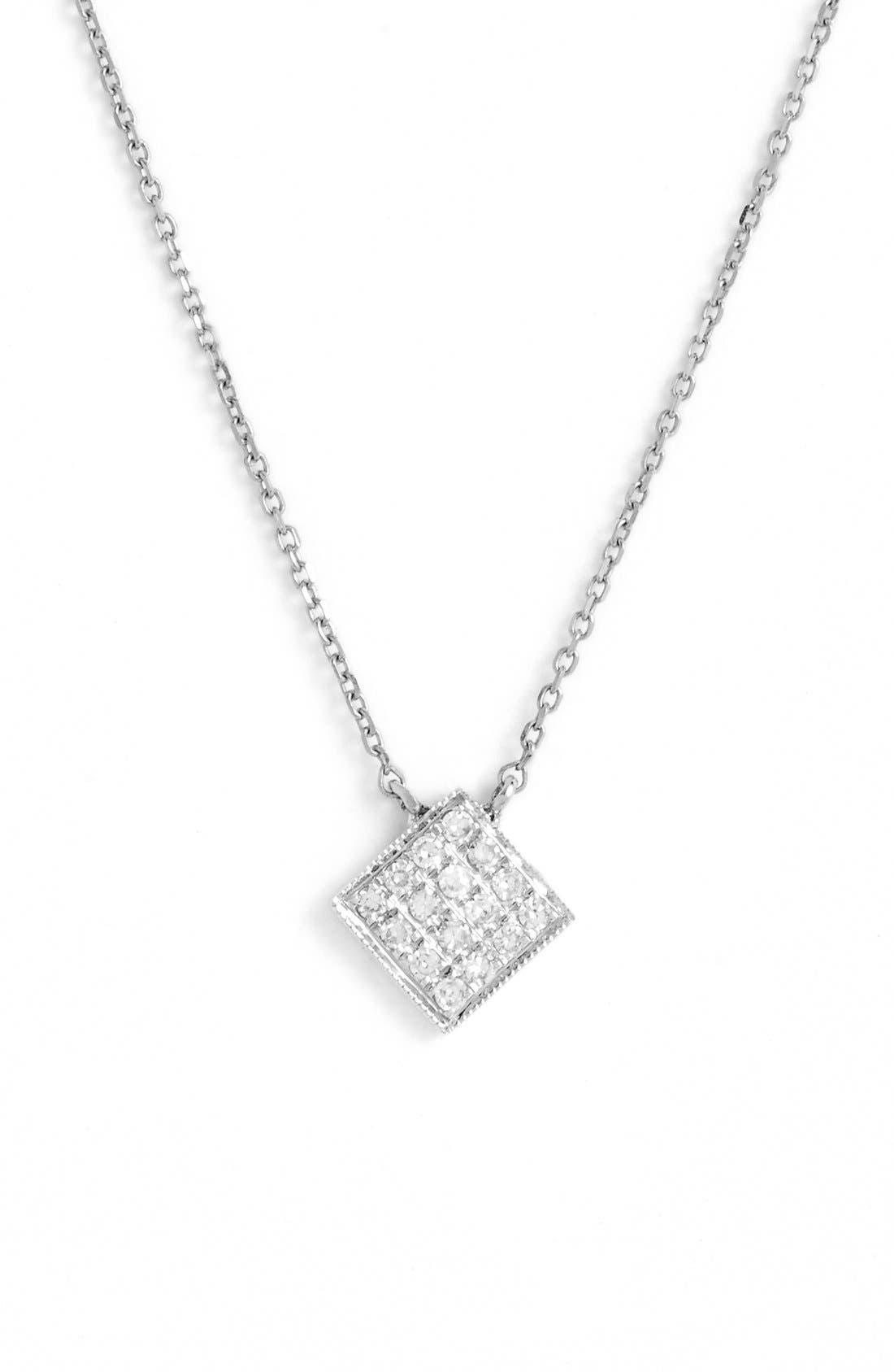 'Lisa Michelle' Diamond Pavé Square Pendant Necklace,                         Main,                         color, White Gold