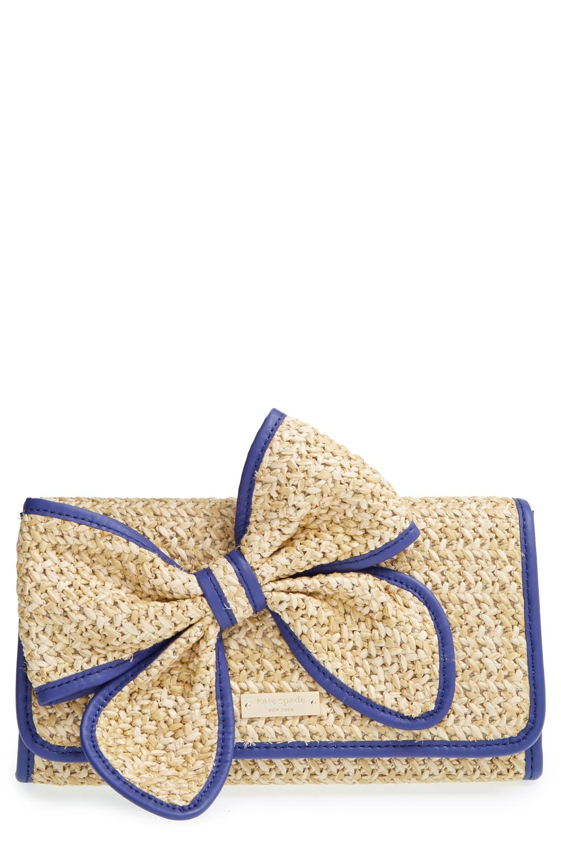 Main Image - kate spade new york 'belle place - viv' straw clutch