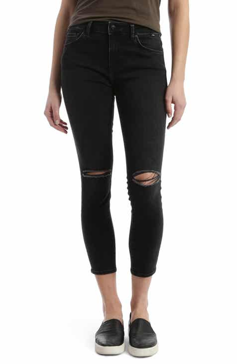 Mavi Jeans Tess Ripped Stretch Crop Skinny Jeans (Dark Smoke Vintage)