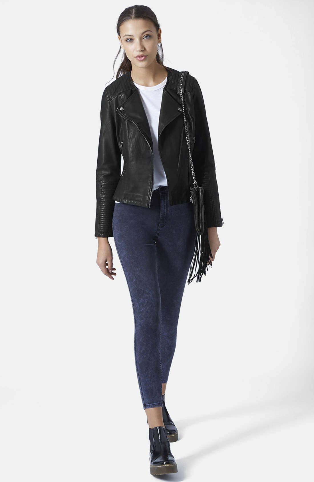 Alternate Image 6  - Topshop Faux Leather Biker Jacket