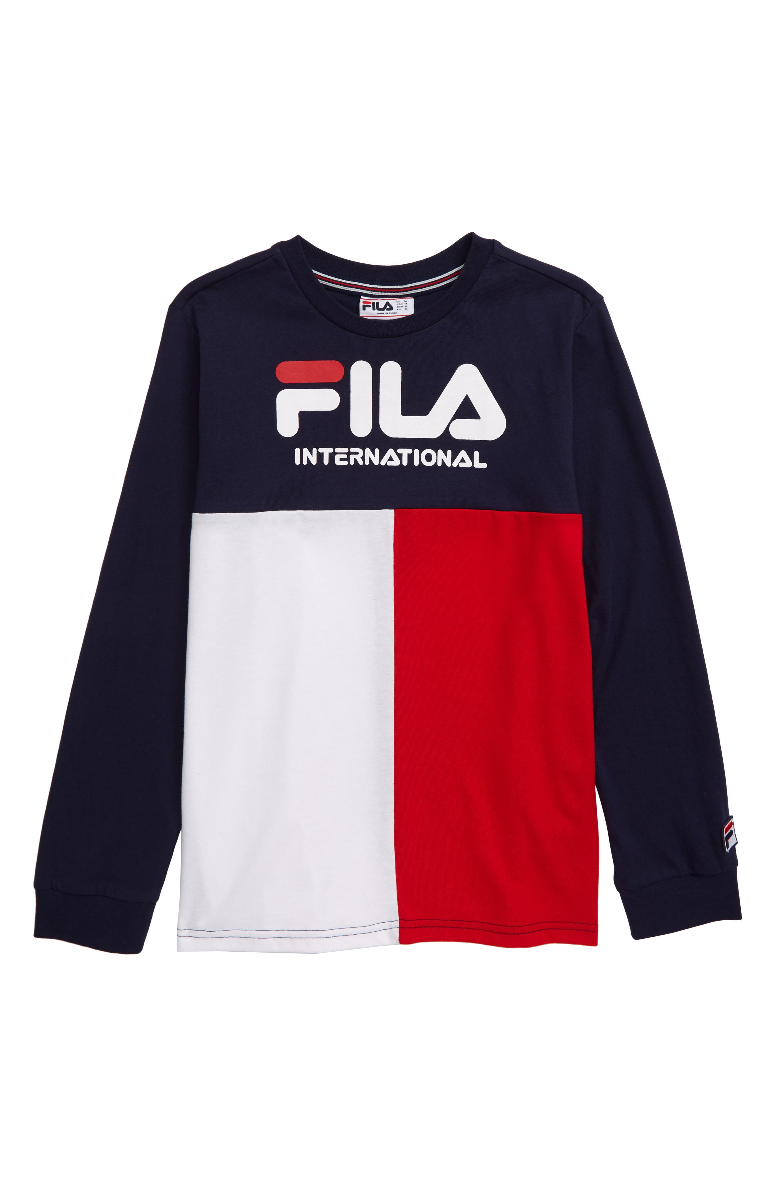 Slide View: 3: FILA Velour Pinstriped Logo T Shirt | FILAS
