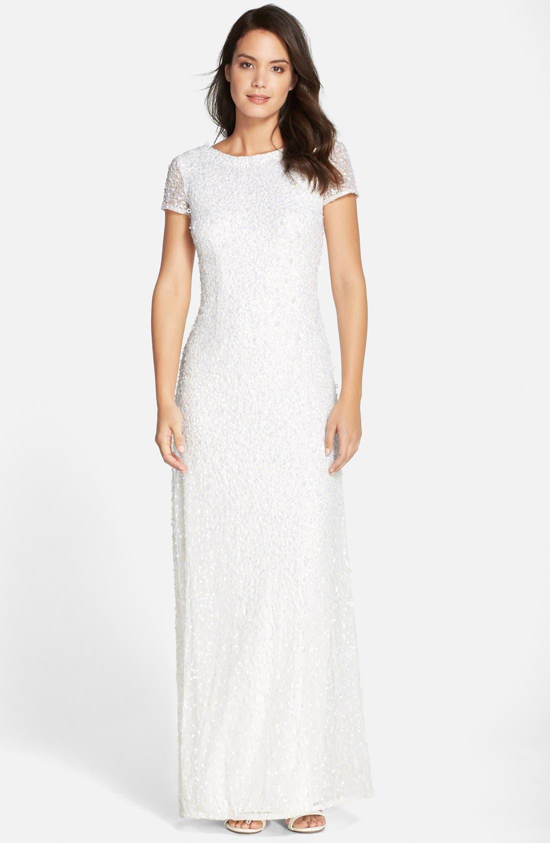 Alternate Image 1 Selected - Adrianna Papell Short Sleeve Sequin Mesh Gown (Regular & Petite)