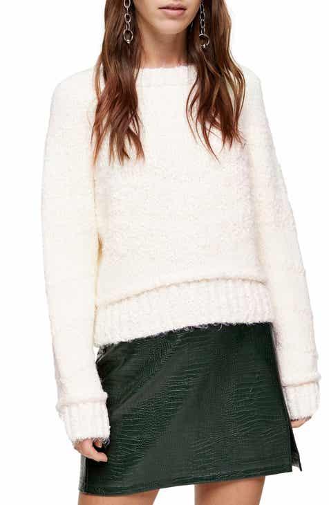 Topshop Chevron Bouclé Sweater