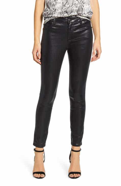1822 Denim Shimmer Coated High Waist Ankle Skinny Jeans