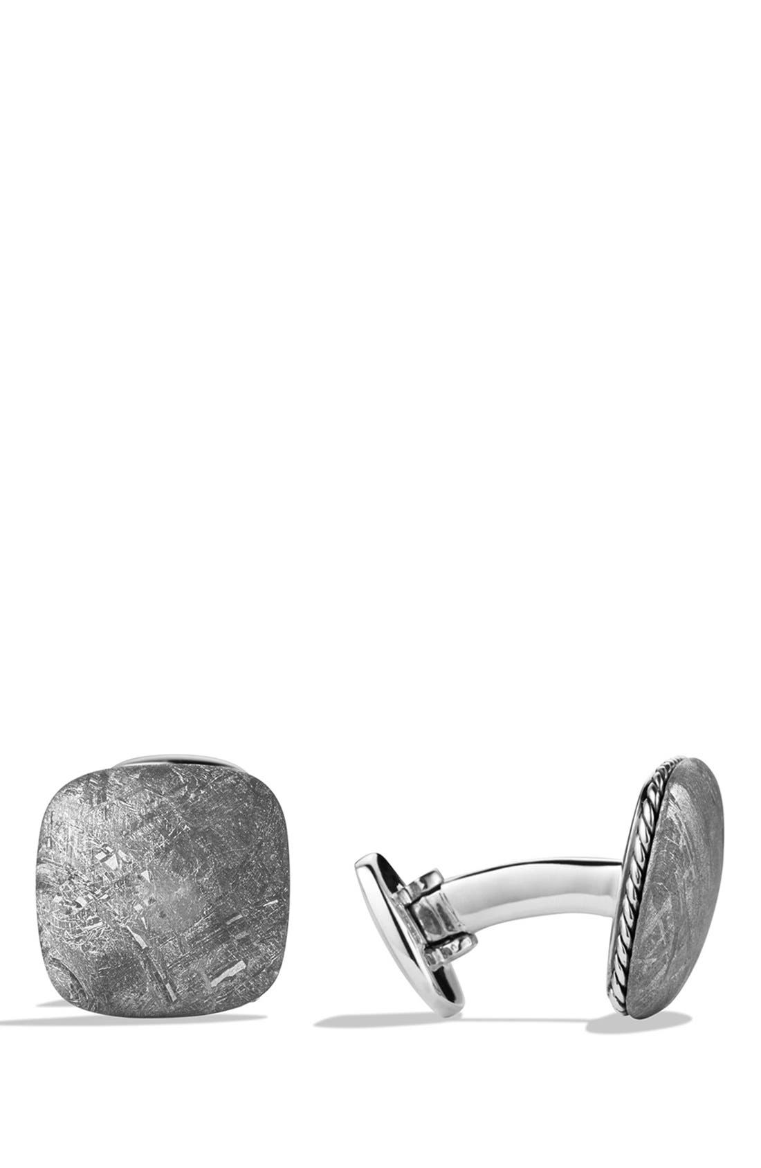 'Streamline' Cuff Links with Semiprecious Stone,                             Main thumbnail 1, color,                             Meteorite