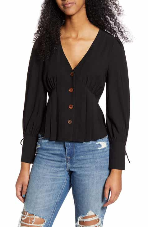 MOON RIVER Tie Cuff Button Front Blouse