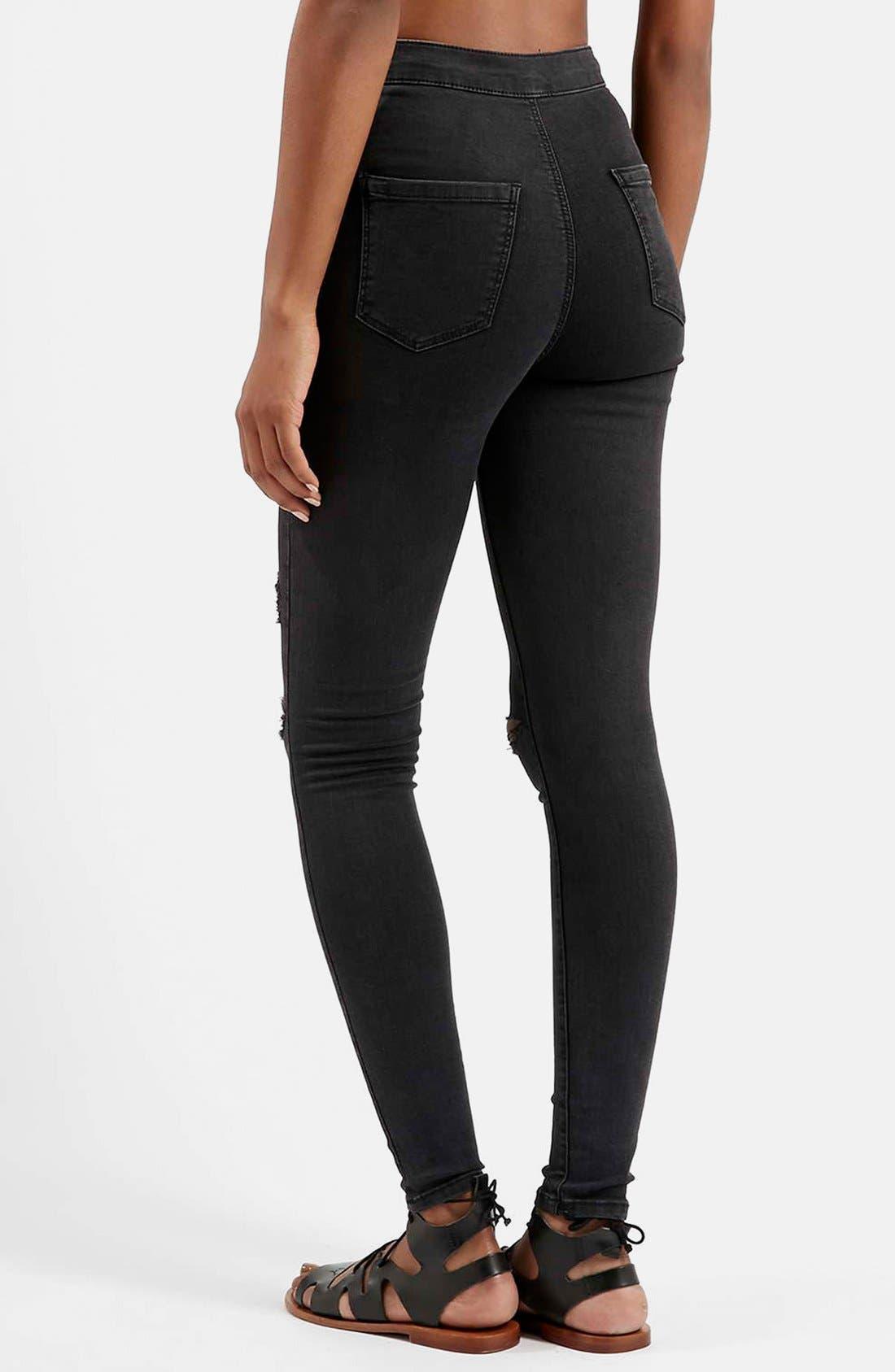 Alternate Image 2  - Topshop Moto 'Joni' Ripped Skinny Jeans (Black)