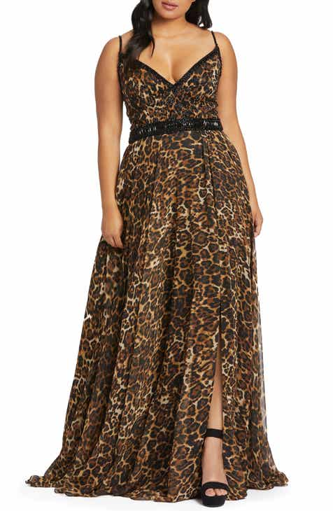 Mac Duggal Cheetah Print Chiffon Prom Dress (Plus Size)