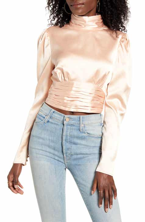 Endless Rose High Neck Open Back Satin Blouse