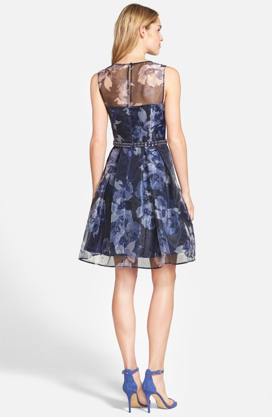 Alternate Image 2  - Eliza J Embellished Print Illusion Yoke Organza Fit & Flare Dress (Regular & Petite)