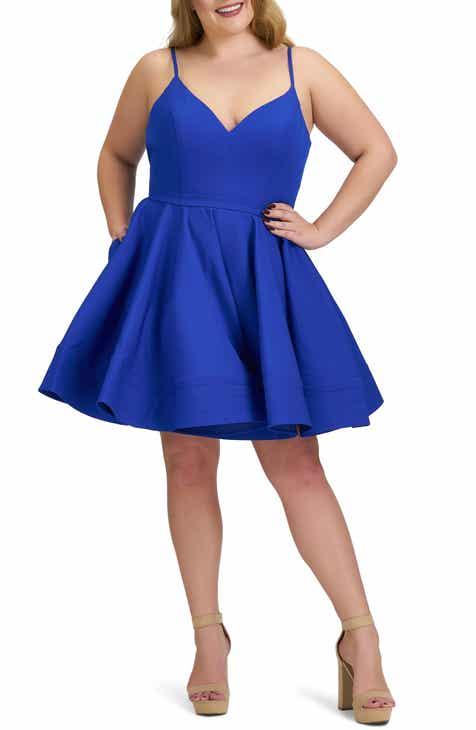 Mac Duggal Fit & Flare Cocktail Dress (Plus Size)