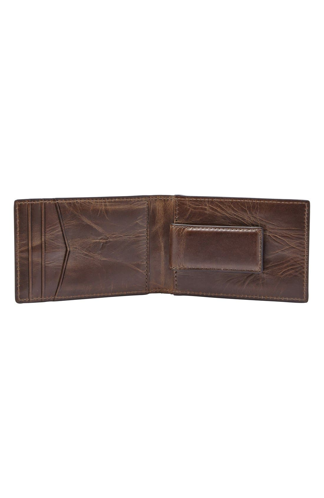 Alternate Image 2  - Fossil Derrick Leather Money Clip Bifold Wallet
