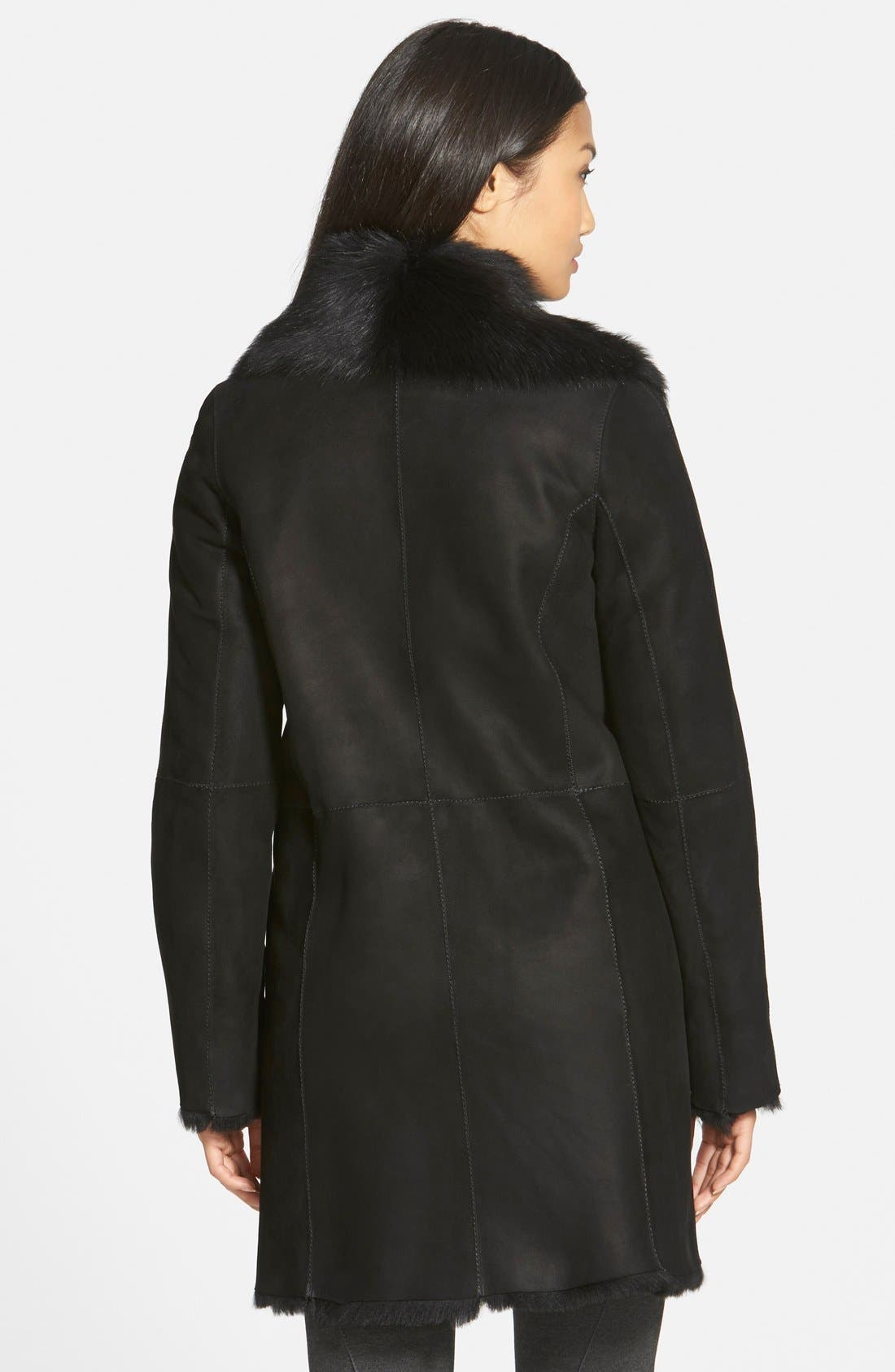 Alternate Image 2  - HiSO Asymmetrical Zip Genuine Toscana Shearling Coat