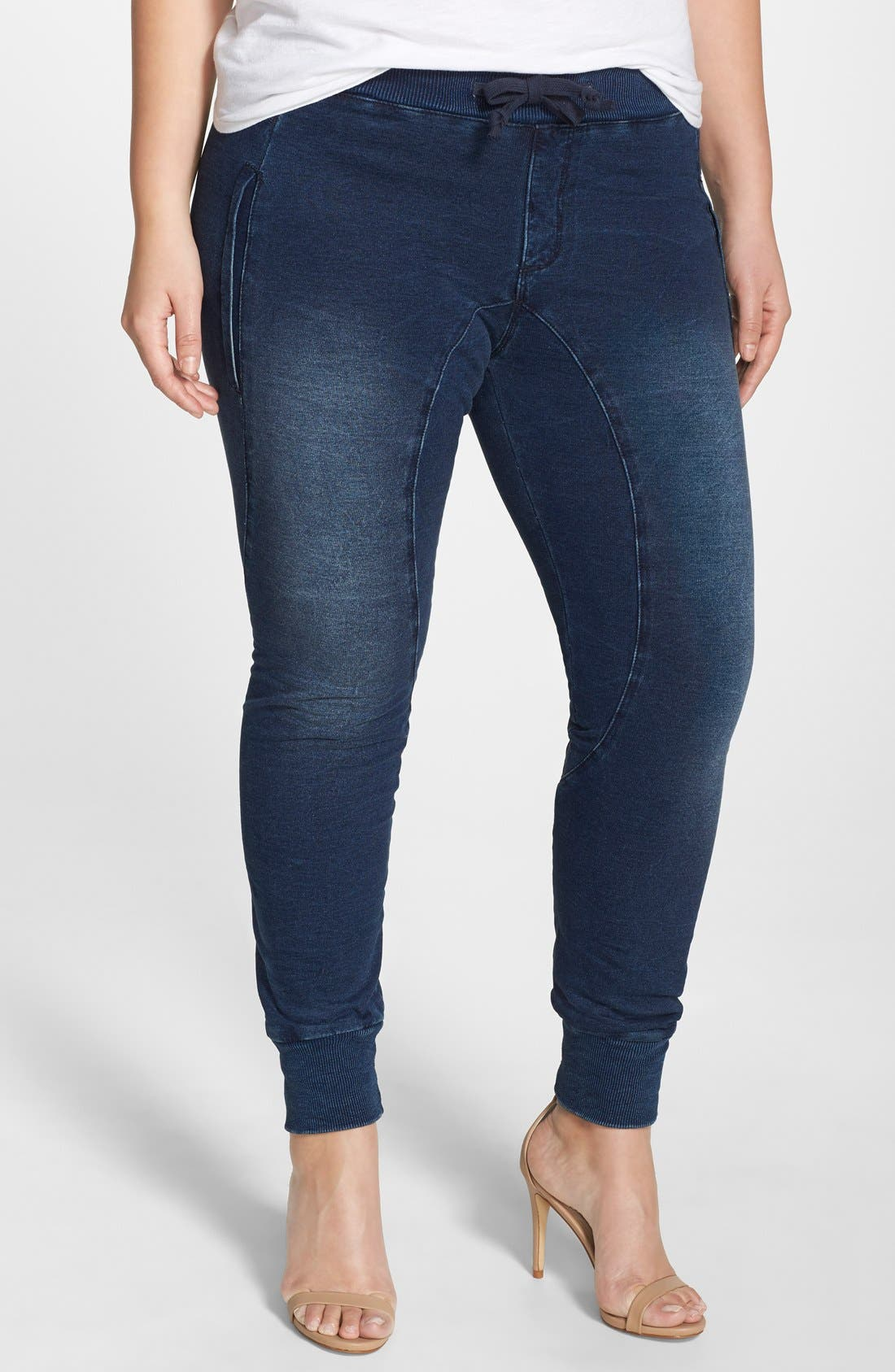 Poetic Justice 'Jonjon' Stretch Knit Denim Jogger Pants (Plus Size)