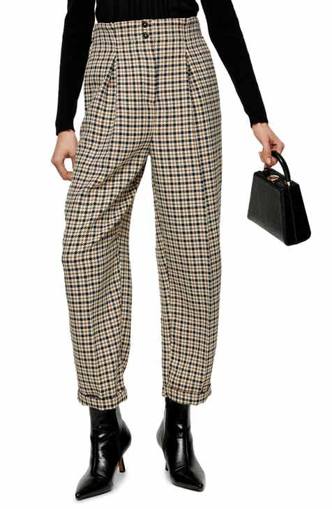 Topshop Houndstooth Check High Waist Ovoid Trousers