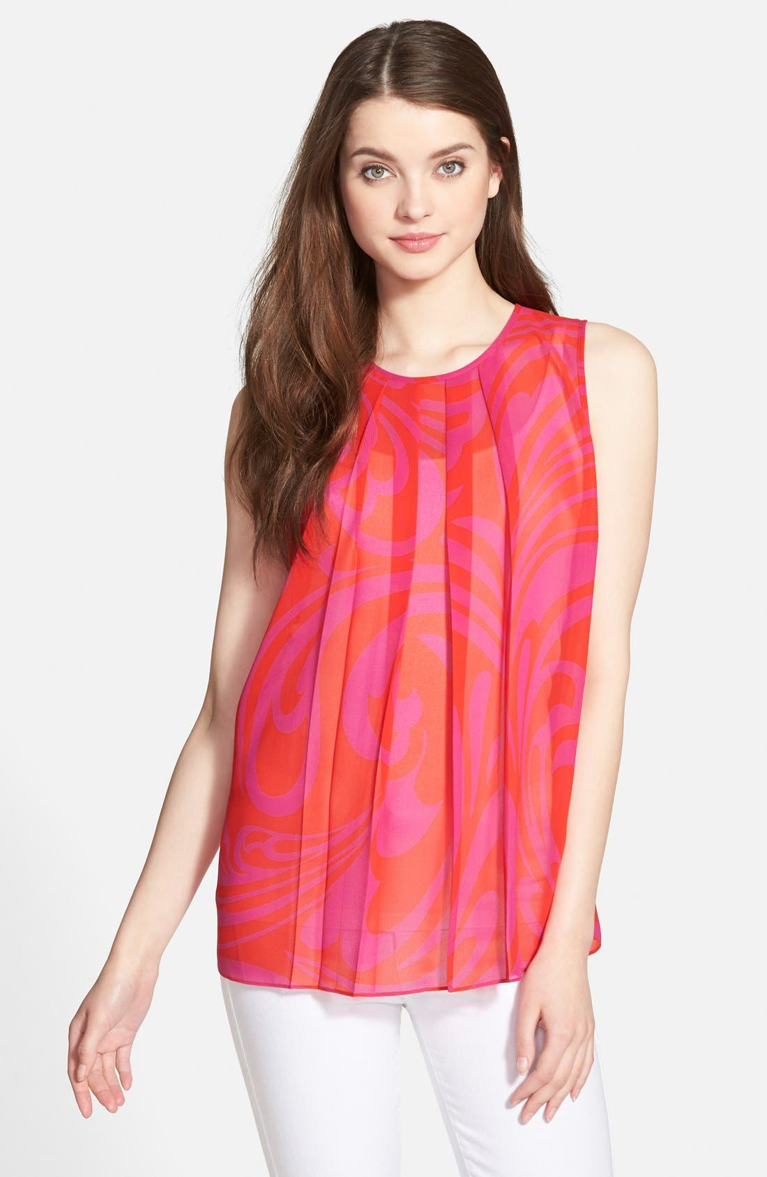 'Cynthia Paisley' Sleeveless Pleat Front Top,                         Main,                         color, Radiant Pink