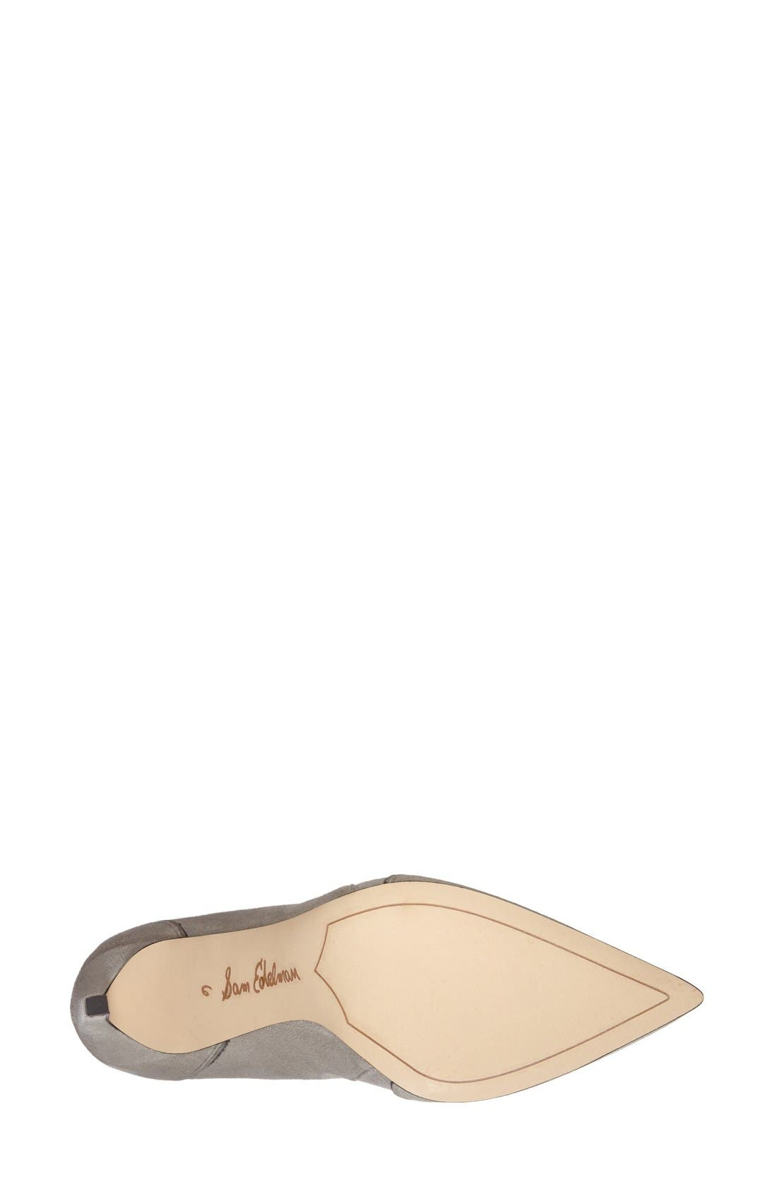'Dixie' Suede Pointy Toe Pump,                             Alternate thumbnail 4, color,                             Winter Sky