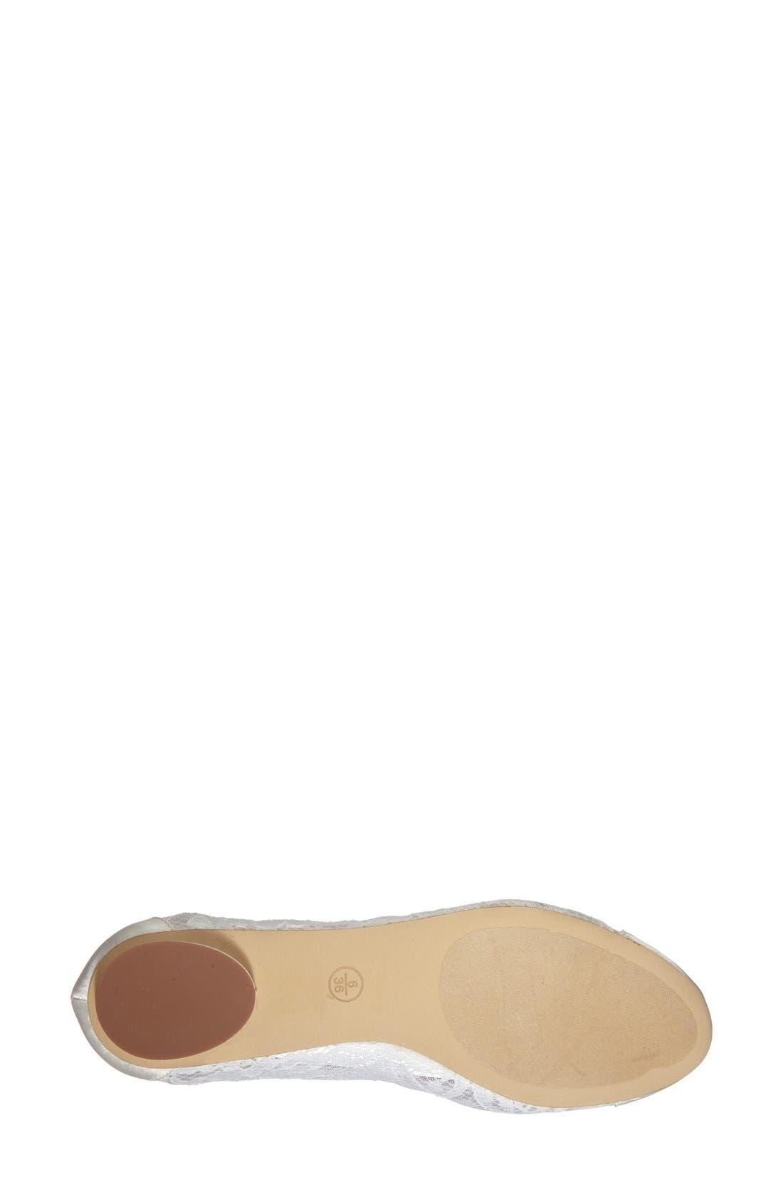 'Sweetie' Lace Cap Toe Ballet Flat,                             Alternate thumbnail 4, color,                             Ivory Lace/ Mesh