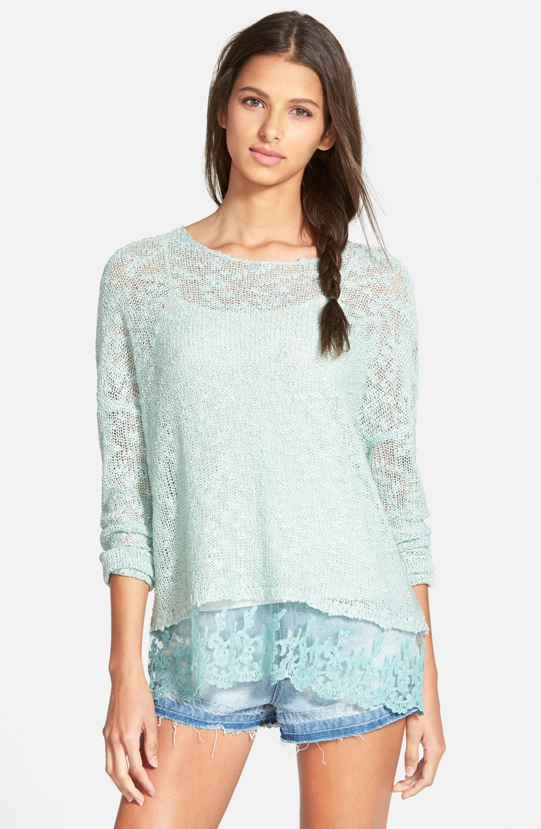 Alternate Image 1 Selected - Woven Heart Lace Trim Sweater