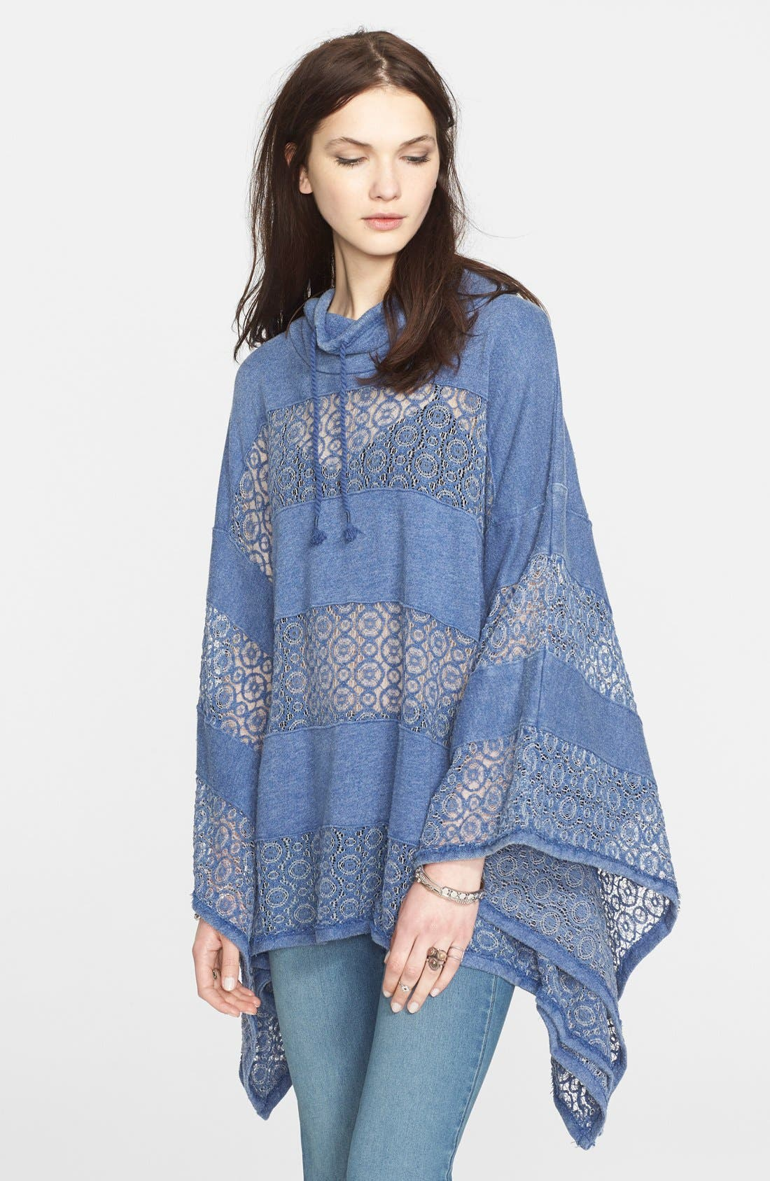 'Mama' Crochet Stripe French Terry Poncho,                             Main thumbnail 1, color,                             Denim Blue