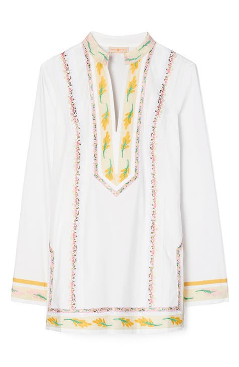 토리버치 Tory Burch Ribbon Tunic Top,white