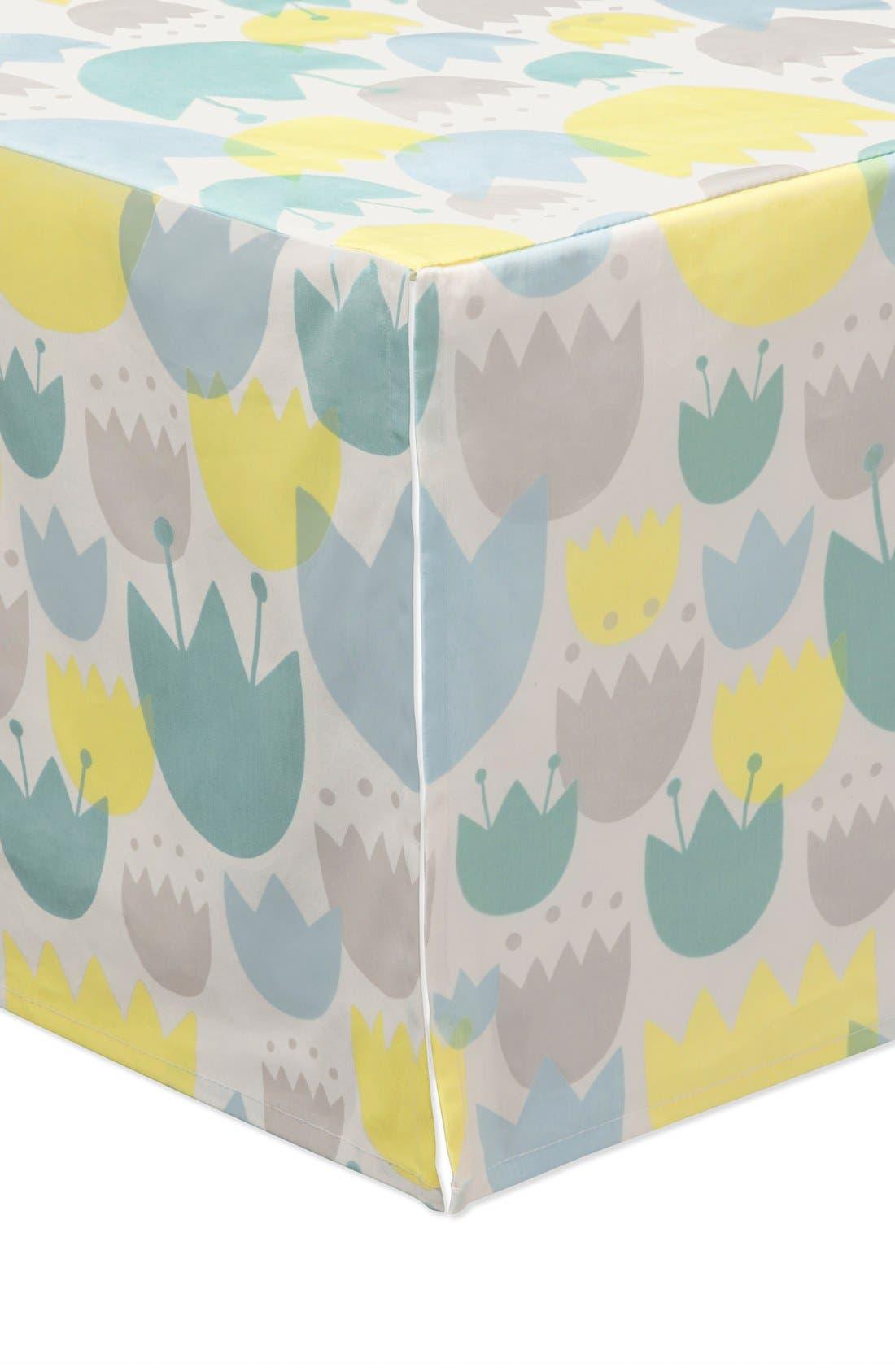 'Garden' Crib Sheet, Crib Skirt, Stroller Blanket & Wall Decals,                             Alternate thumbnail 3, color,                             Blue