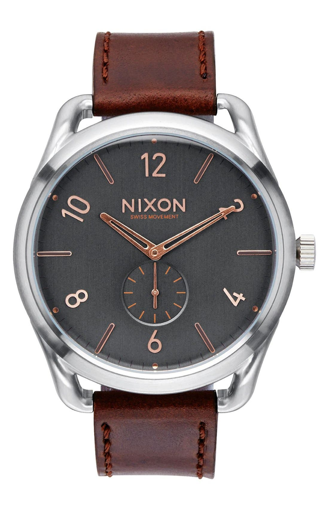 'The C45' Leather Strap Watch, 47mm,                         Main,                         color, Brown/ Silver/ Grey