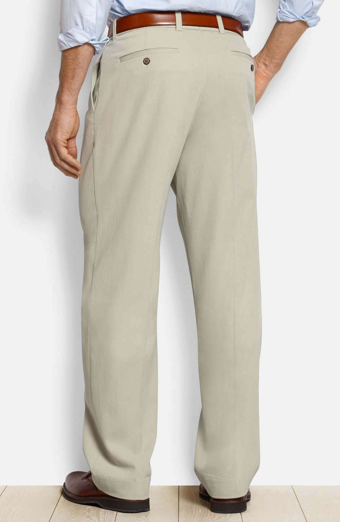 'New St. Thomas' Flat Front Silk & Cotton Pants,                             Alternate thumbnail 2, color,                             Abbey Stone