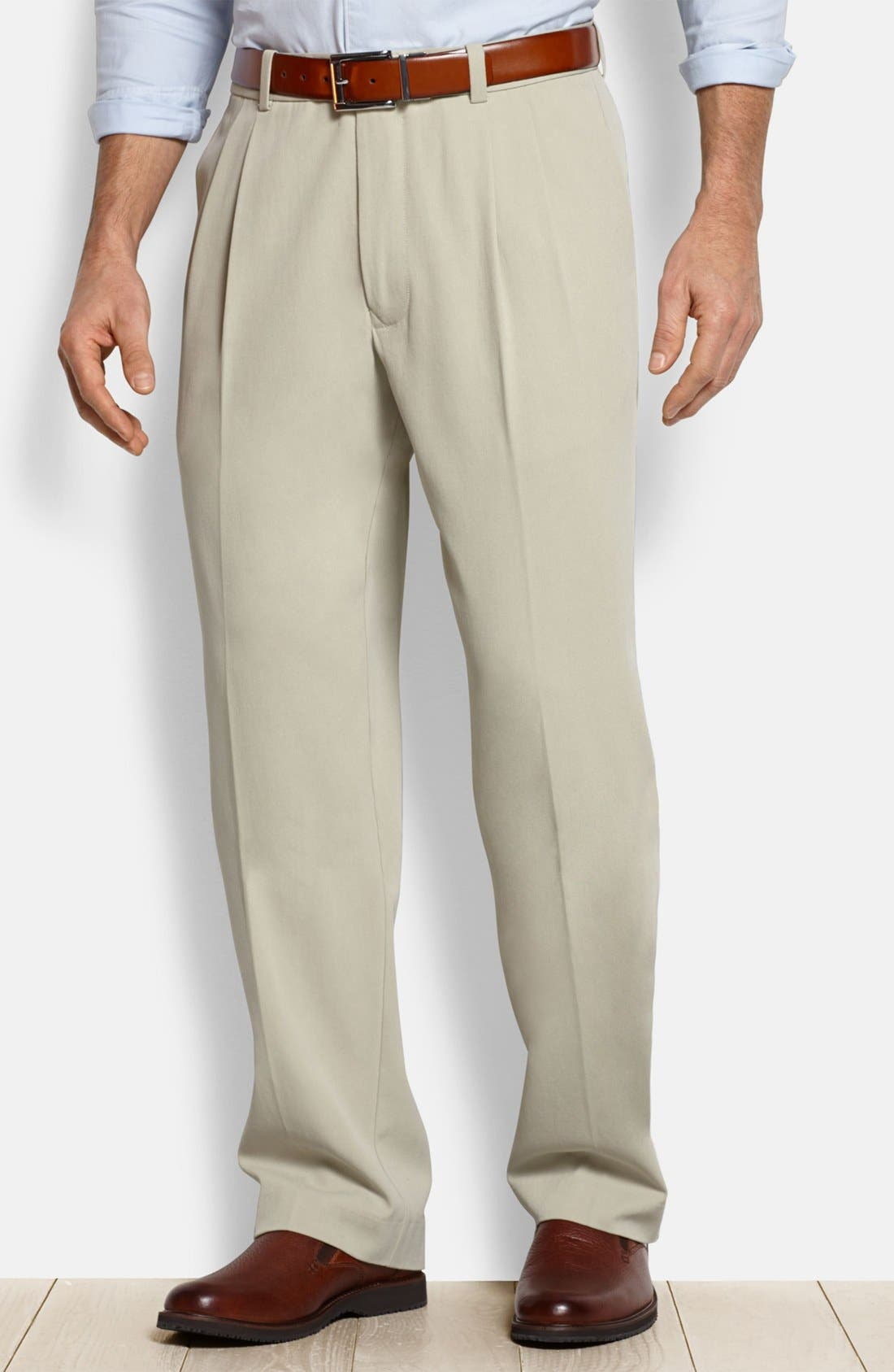 'New St. Thomas' Flat Front Silk & Cotton Pants,                         Main,                         color, Abbey Stone