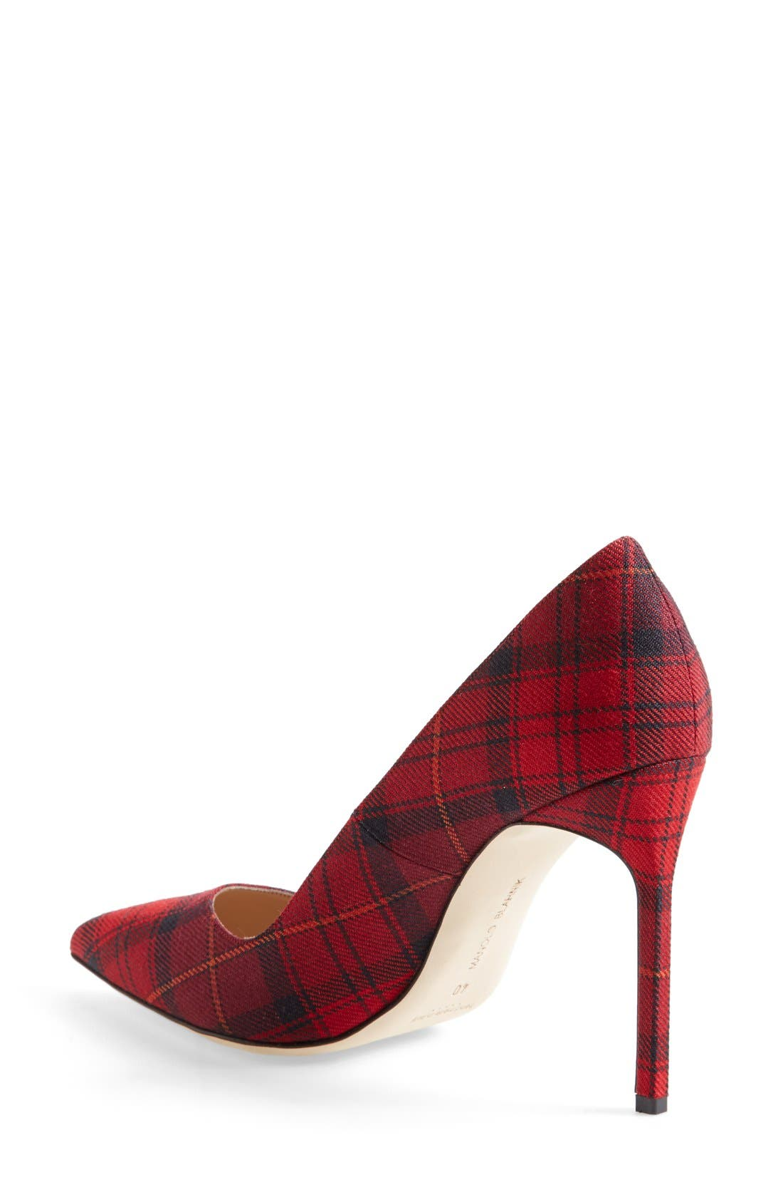 BB Pointy Toe Pump,                             Alternate thumbnail 2, color,                             Red Plaid Fabric