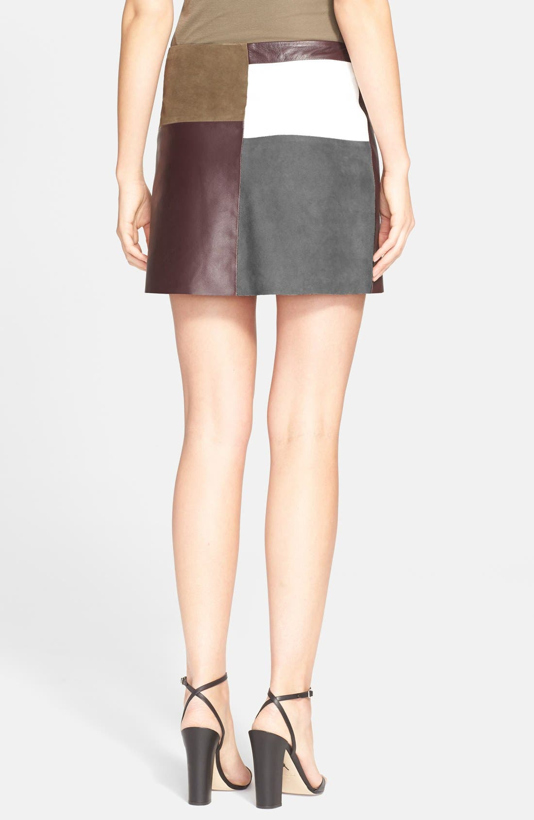 Alternate Image 2  - Theory 'Shanrial' Leather & Suede A-Line Skirt