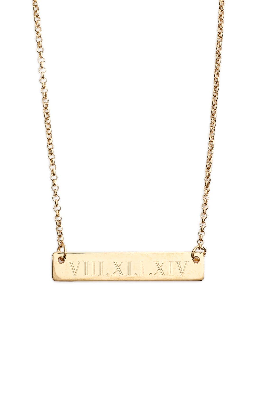 Main Image - Argento Vivo Roman Numeral Bar Pendant Necklace